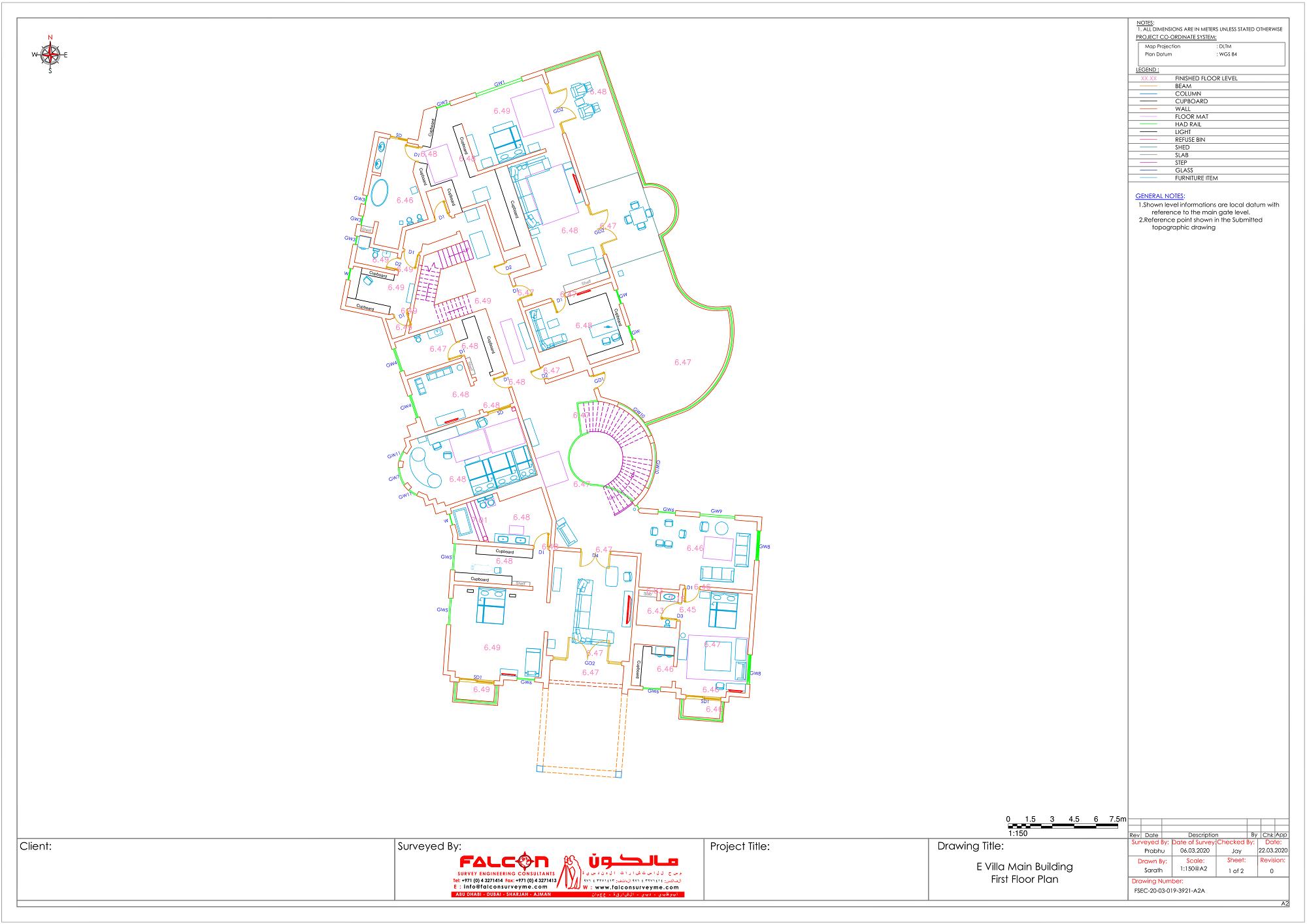 First Floor Plan of the Villa